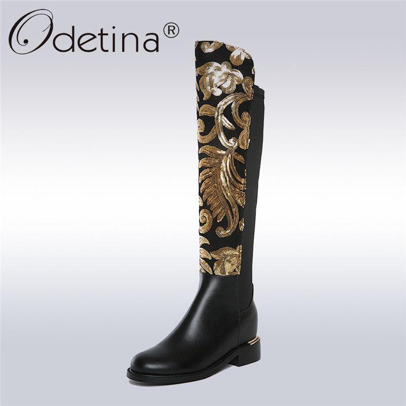 Odetina 2018 New Fashion Winter Genuine Leather Women Knee High Boots Female Hidden Heel Stretch Fabric Boots Zip Big size 34-42
