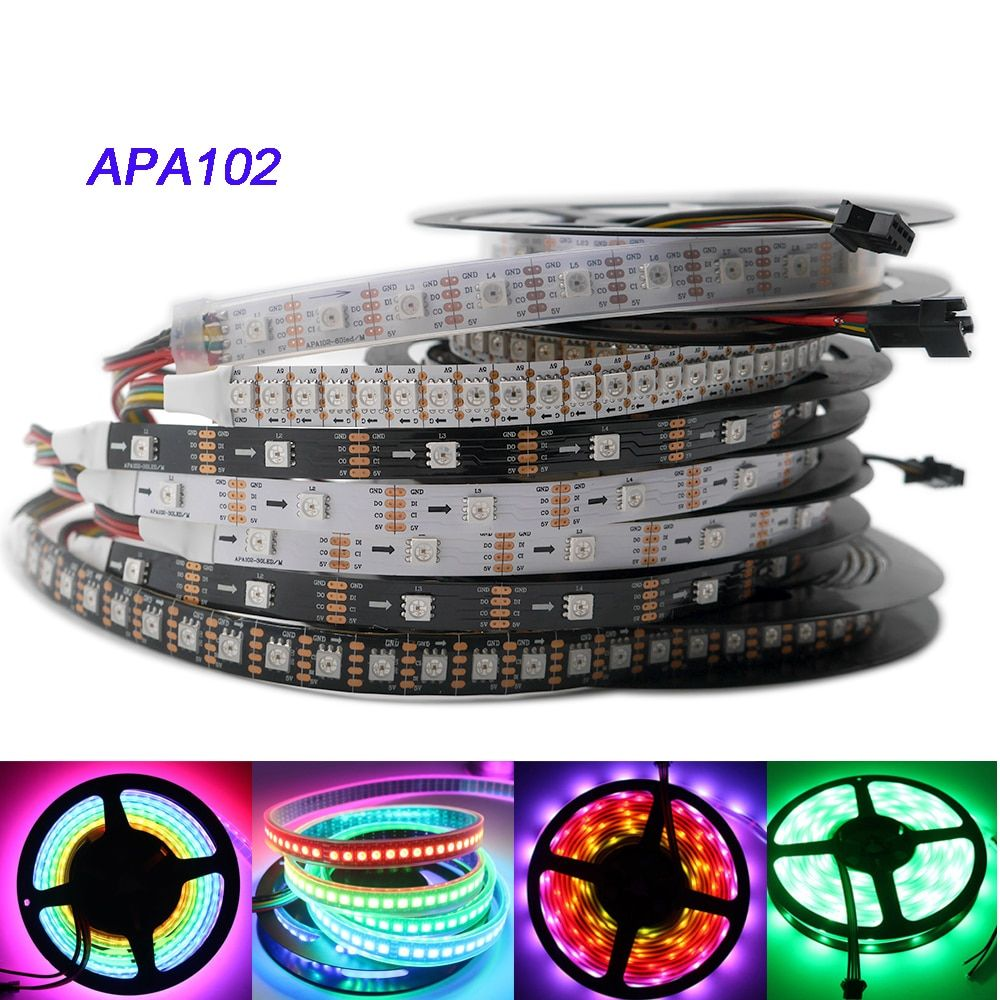 APA102 strip,1m/3m/5m 30/60/72/96/144 leds/pixels/m APA102 Smart led pixel strip ,DATA and CLOCK seperately DC5V IP30/IP65/IP67