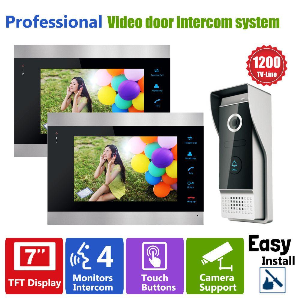 Homefong 7 Inch Video Door Phone Recording HD 1200TVL 1 IR Night Doorbell Camera and 2 Hands Free Monitor Intercom Doorbell