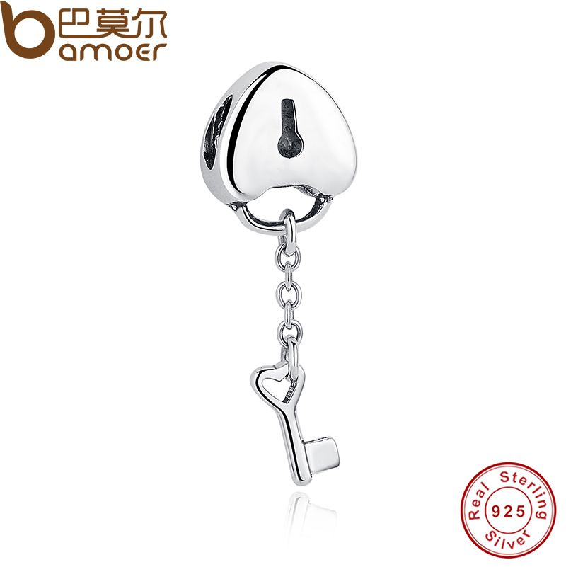 BAMOER Original 100% 925 Sterling Silver Lock Charms Key To My Heart Beads Charm Fit Bracelet & Necklace PAS050