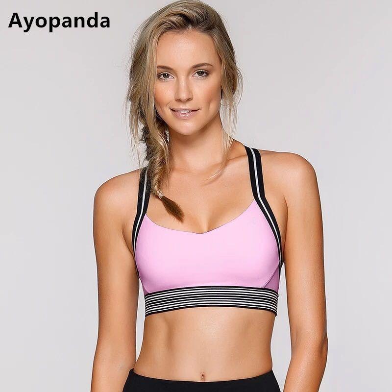 Ayopanda Fierce Sports Bra Women Medium Impact Removable Padded Yoga Bra Top Pink patchwork Wireless Sports Vest