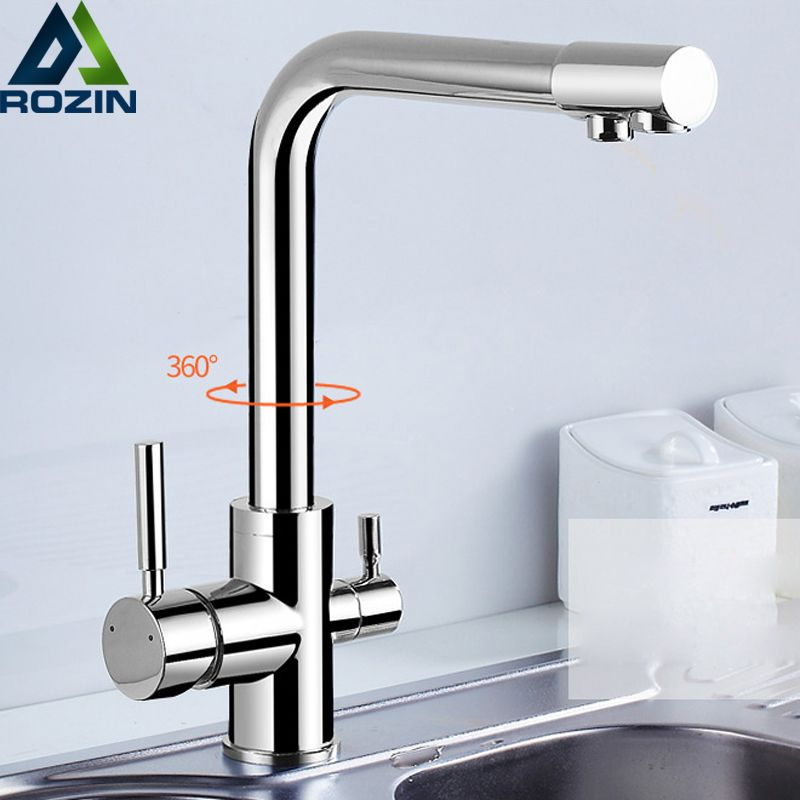 Chrome Brass Purified Water Outlet Kitchen Mixer Tap Kitchen Faucet Pure Water Filter <font><b>Deck</b></font> Mounted Dual Handles