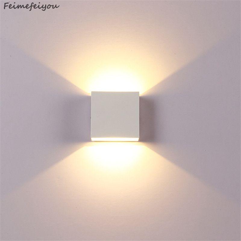 Feimefeiyou 6W lampada LED Aluminium applique murale rail projet carré mur LED lampe de chevet chambre lampes murales arts