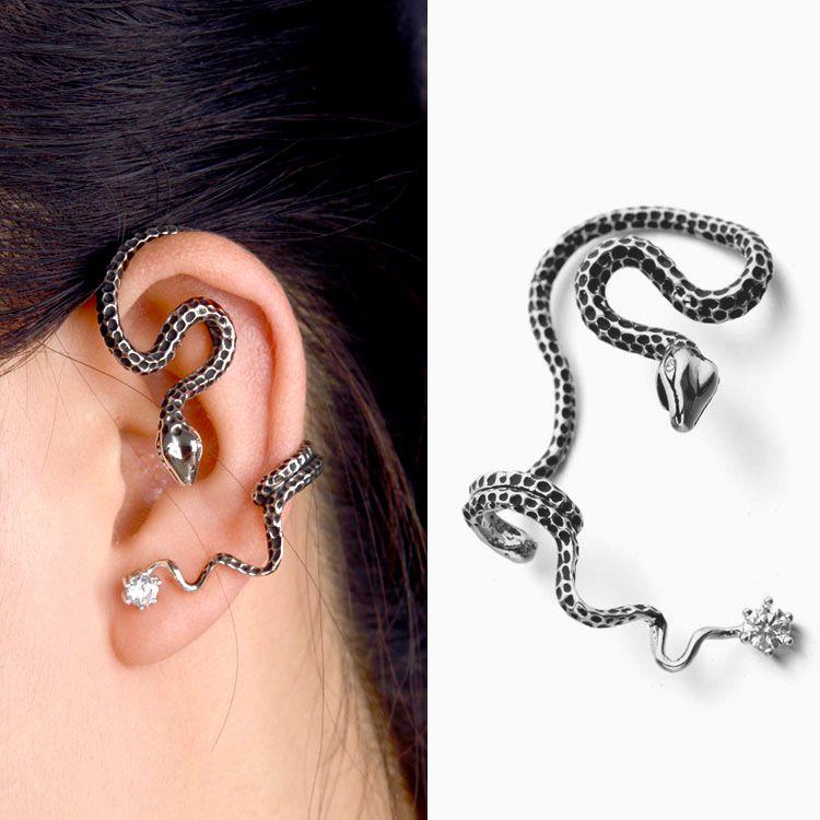 2016 New Vintage Unique Serpent Boucle D'oreille Micro Mosaïque Zircon Cristaux Antique Argent Oreille de Manchette Boucles D'oreilles Clip pour les Femmes Bijoux
