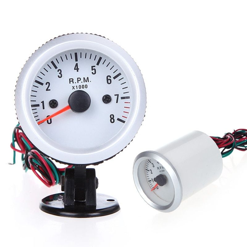 Tachometer Tach Gauge with Holder Cup for Auto Car 2 52mm 0~8000RPM Blue LED Light