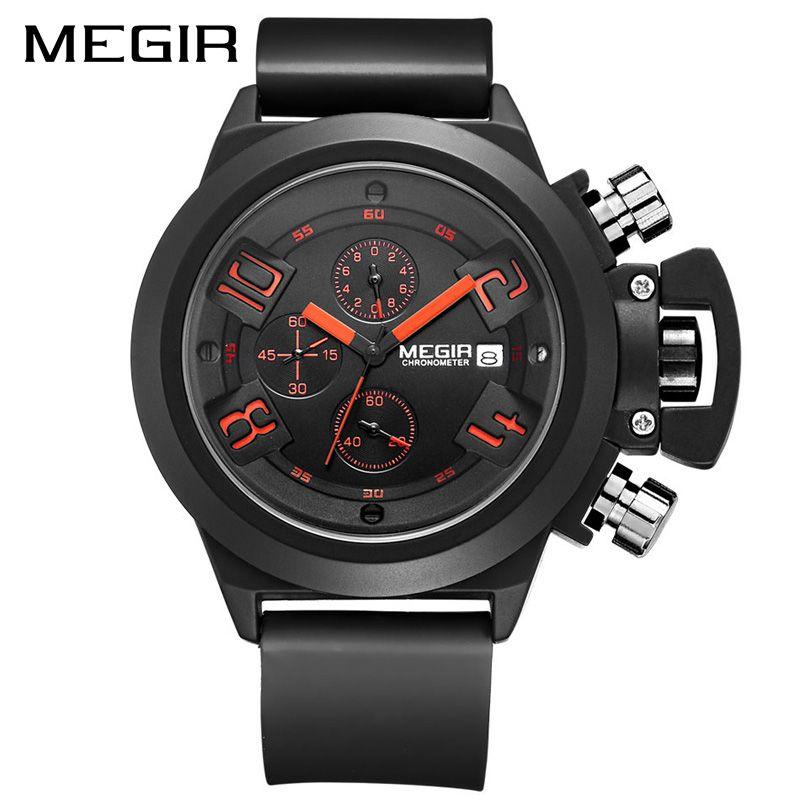 MEGIR Creative Men Sport Watch Top Brand Luxury Army Military Watches Clock Men Chronograph Quartz Wristwatch Relogio Masculino