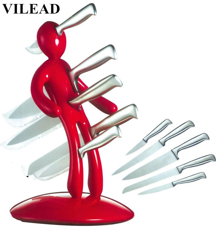 VILEAD Neuheit Küche Geschenke Kreative Humanoiden Edelstahl Magnet Messerhalter Blöcke Rolle Rack Regal Stand mit Freiem Messer