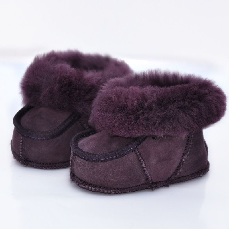 2017 Winter Colorful Handmade Sheep Fur Baby Shoes 0-1 Years Old Genuine Leather Toddler Boots Warm Soft Baby Moccasins
