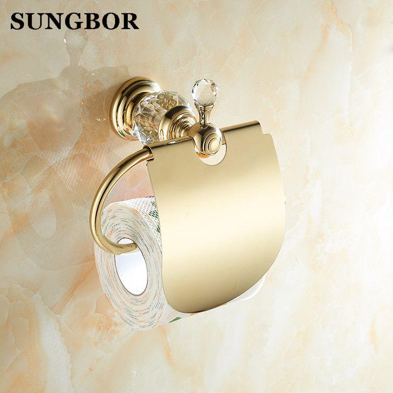 4 couleurs cristal laiton salle de bains papier toilette rouleau support de la boîte or porte-papier hygiénique porte-papier boîte à mouchoirs SH-99908K