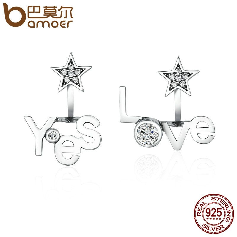 BAMOER High Quality 100% 925 Sterling Silver Yes & Love Letter Star Shape Stud Earrings for Women Jewelry Girlfriend Gift SCE153