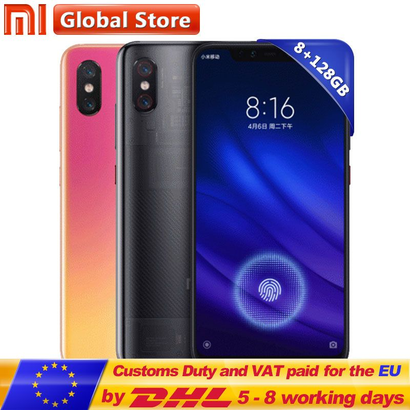 Xiao mi mi 8 In Display Fingerprint Edition 8 gb 128 gb 6,21 2248*1080 Volle Bildschirm Amoled Dual hinten Kamera 2*12 megapixel QC 4,0 + 3000 mah