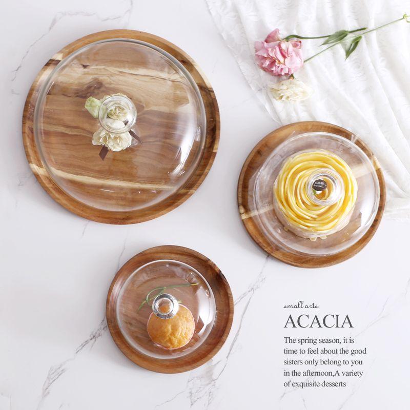 Acacia assiette en bois pour gâteau fruits Dessert plateaux de service créatif mariage fête d'anniversaire après-midi plateau à thé avec couvercle S M L