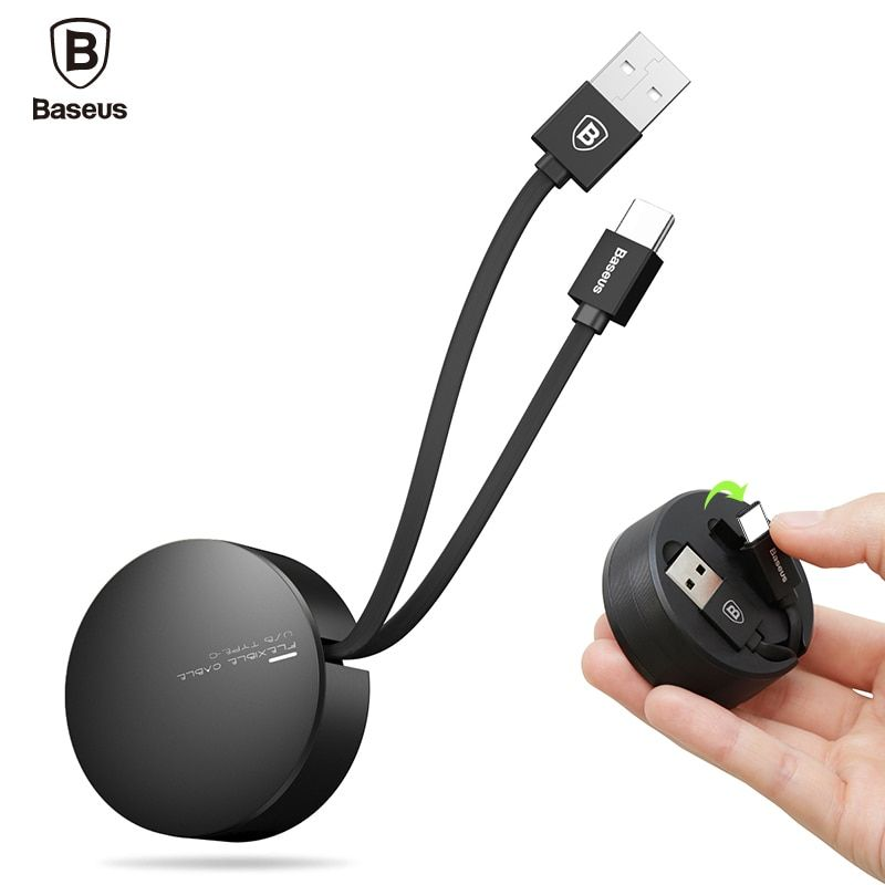 Baseus Retractable Type C Cable For Samsung S8 Note 8 USB Charger Cable Adjustable Mobile Phone Data Cable 2A USB Type-C Cable