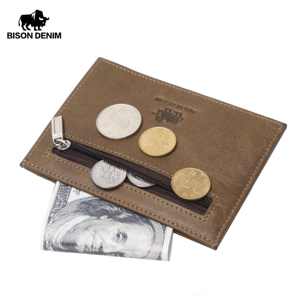 BISON DENIM véritable garantie de cuir rétro conception porte-monnaie des pièces hommes titulaire de la carte de crédit de poche Vintage mini petit portefeuilles 9309