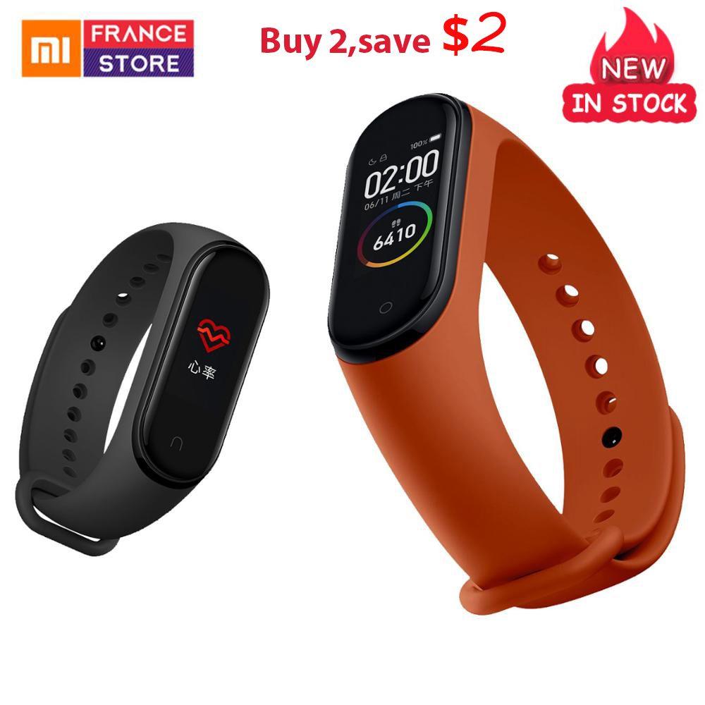 Version mondiale Xiao mi bande 4 Bracelet de remise en forme bande intelligente traqueur de fréquence cardiaque affichage coloré Message instantané 135mAh montre