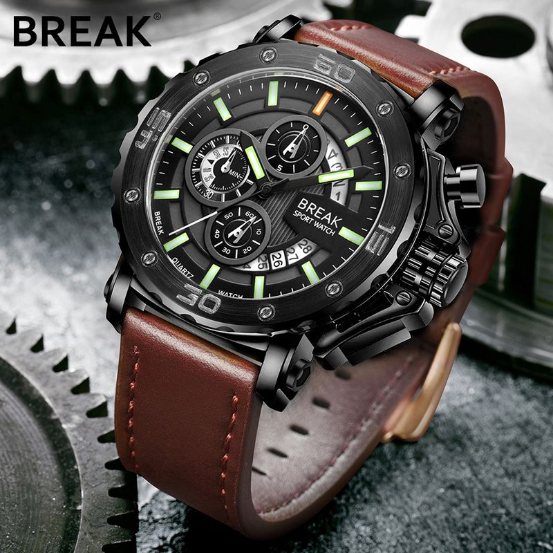 Genuine BREAK Quartz Male Watches Genuine Leather Watches Racing Men Students Game Run Chronograph Watch Male Glow Hands