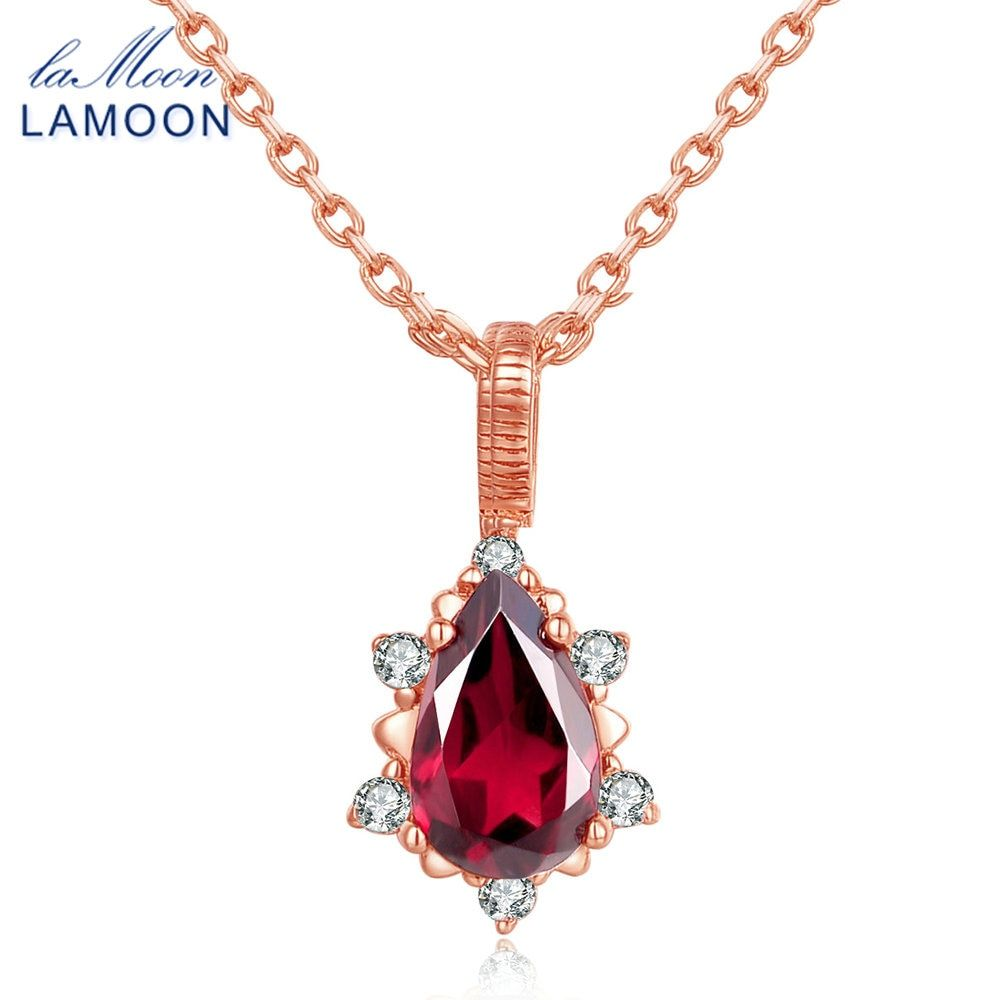 LAMOON Teardrop 5x7mm 1ct 100% Natural Red Garnet Gemstone 925 Sterling Silver Jewelry Chain <font><b>Pendant</b></font> Necklace For Women NI024