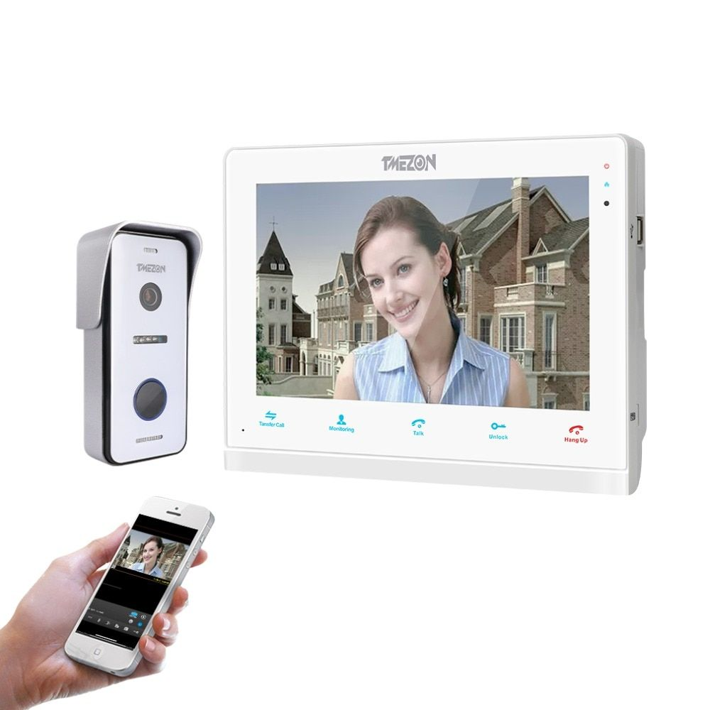 TMEZON 10 Inch Wireless/Wifi Smart IP Video Doorbell Intercom System ,1xTouch Screen Monitor with 1x720P Wired Door Phone Camera