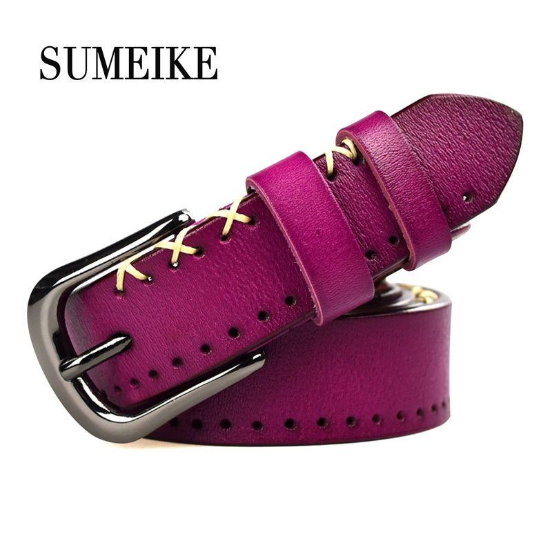 100% ceinture en cuir de vachette véritable femmes Jeans femme ceinture sangle mode ceintures pour femmes 95-110 cm