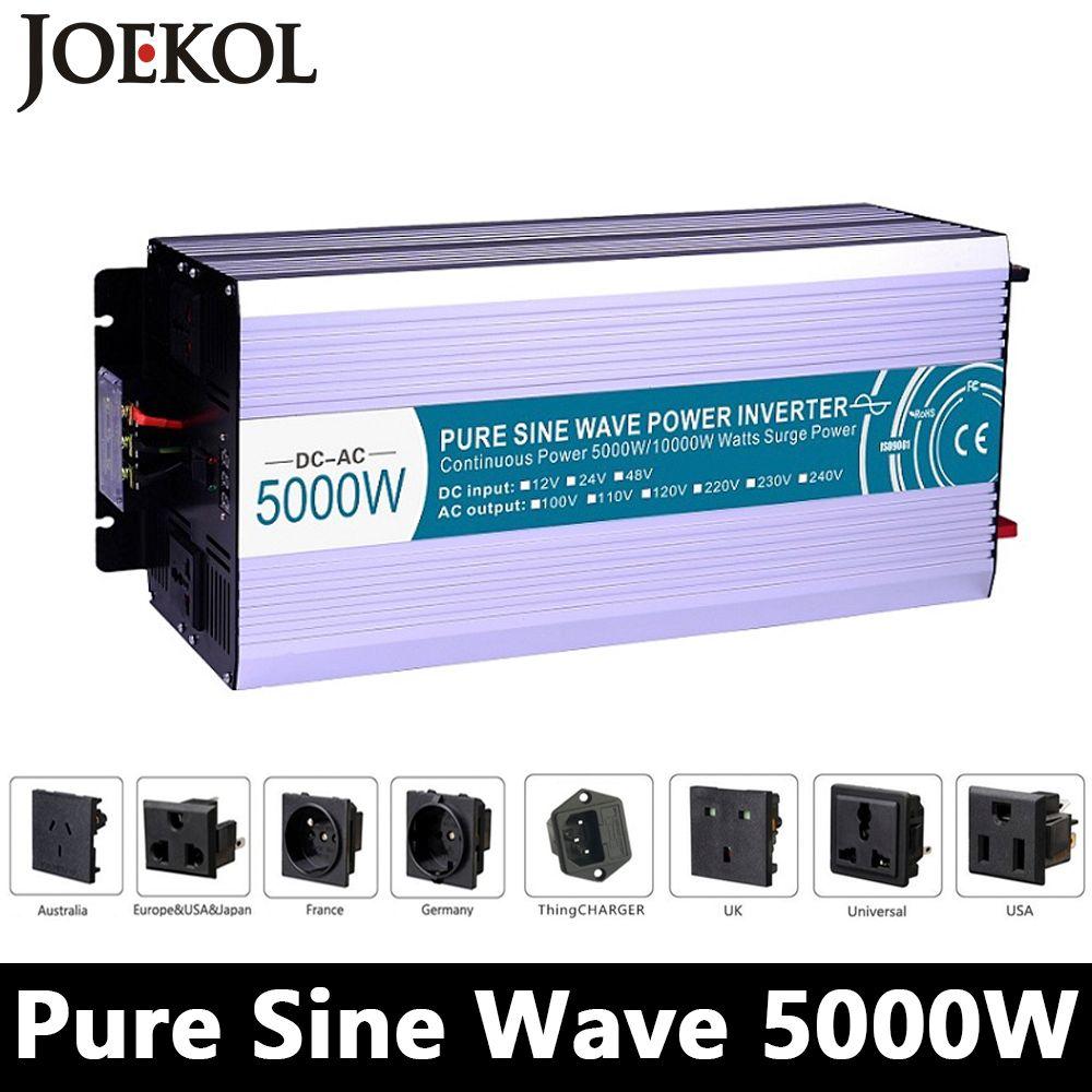 Hohe powe 5000 Watt Reine Sinus-wechselrichter, DC12V/24 V/48 V Zu AC110V/220 V, netzferne Solarwechselrichter, spannungswandler Arbeit Mit Batterie