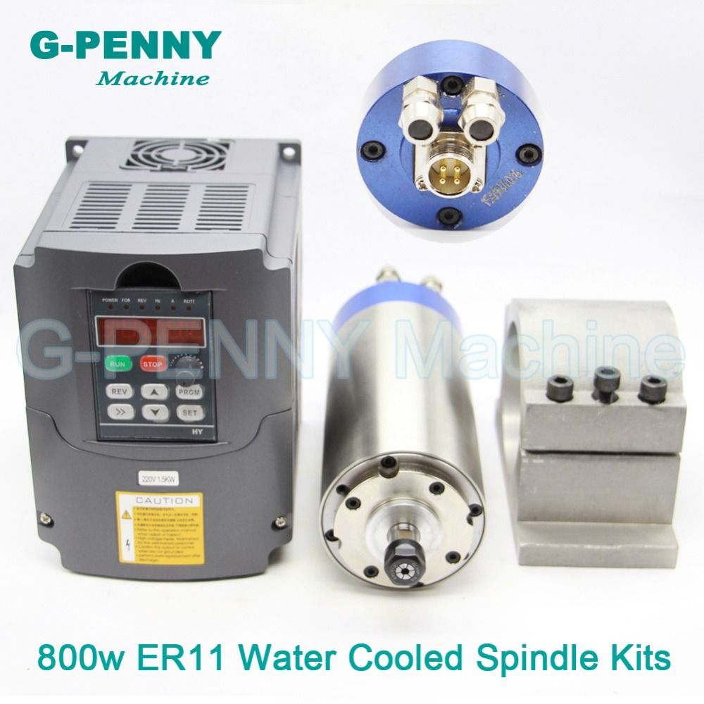 220V 800W ER11 CNC Water Cooling Spindle Motor wood working & 1.5kw VFD & 65mm aluminiuvariable frequency driver speed control