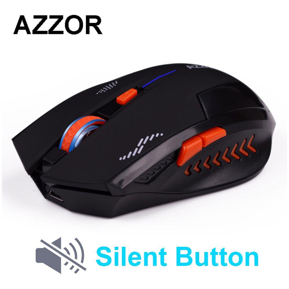 AZZOR Rechargeable sans fil souris Slient bouton ordinateur Gaming 1600 DPI batterie intégrée avec câble de charge pour PC portable