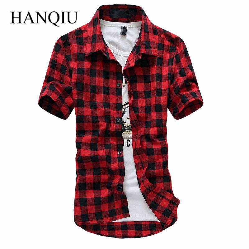 Red And Black Plaid Shirt Men Shirts 2017 New Summer Spring Fashion Chemise Homme Mens Dress Shirts Short Sleeve Shirt Men