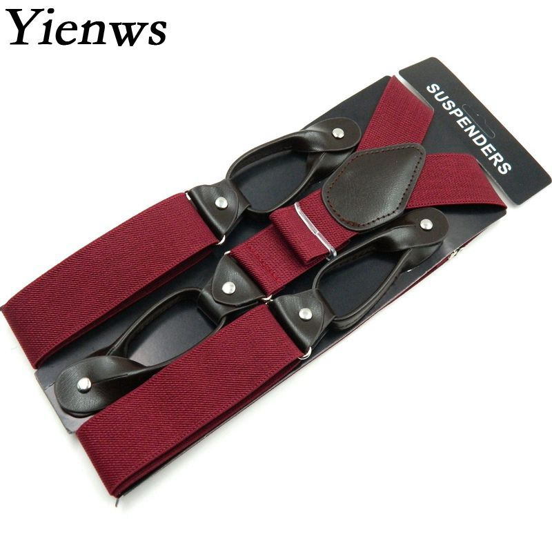 Yienws Fashion Black Braces Men Suspensorio Masculino Plain Button Suspenders For Pants Tirantes Hombre Leisure Jartiyer Sus04