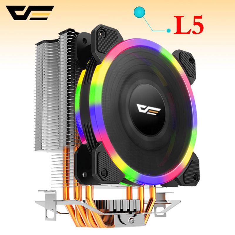 darkflash L5 CPU cooler Cooling TDP 280W 5 heatpipes 4p PWM LED 120mm fan Radiator heatsink /115X/775/1366/AM2+/AM3+/AM4