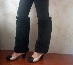 Real rabbit fur legwarmers women girls black fur leg warmers for boots black nature brown,nature grey 20cm,30cm ,40cm