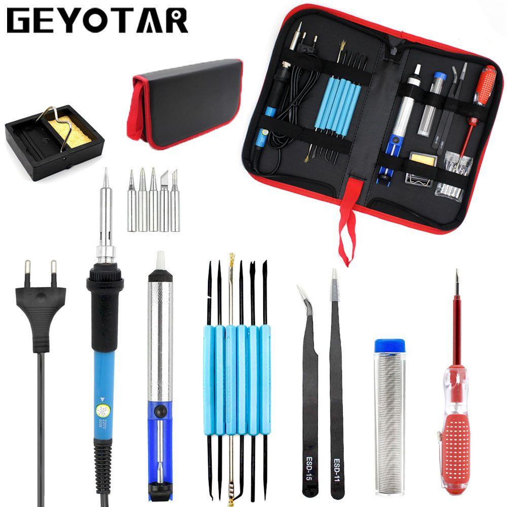 Eu Plug 220v 60w Adjustable <font><b>Temperature</b></font> Electric Soldering Iron Kit+5pcs Tips Portable Welding Repair Tool Tweezers Solder Wire
