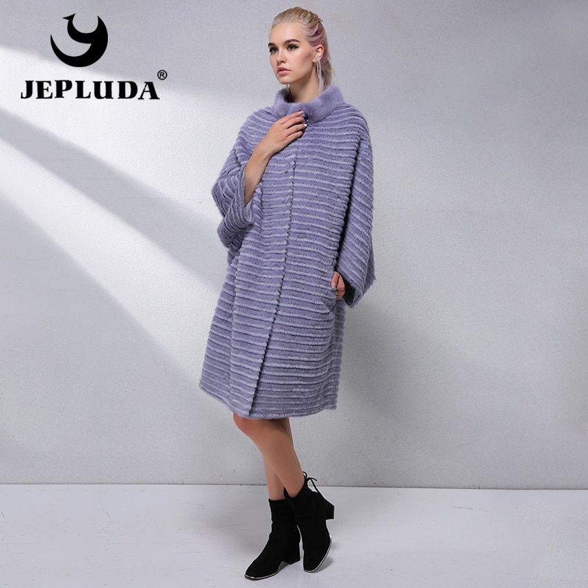 JEPLUDA Hot Sale Fashion Plus Size Women's Real Fur Coat Bat Sleeved Natural Real Rex Rabbit Mink Fur Coat Winter Jacket Women