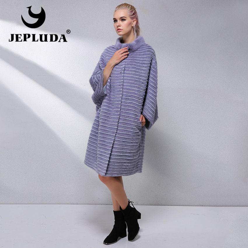 JEPLUDA Hot Sale Fashion Plus Size Women's Real Fur Coat Bat Sleeved Natural Real Rex Rabbit Mink Fur Coat Winter Jacket Women