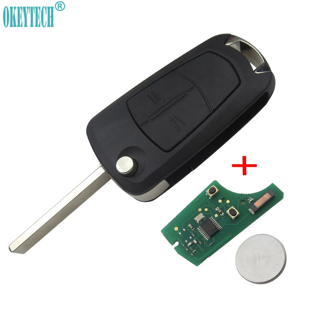 OkeyTech 2 Buttons Flip Remote Folding Car Key Fob Switchblade Key For Vauxhall Opel Corsa Astra h Vectra Signum 433Mhz PCF7941