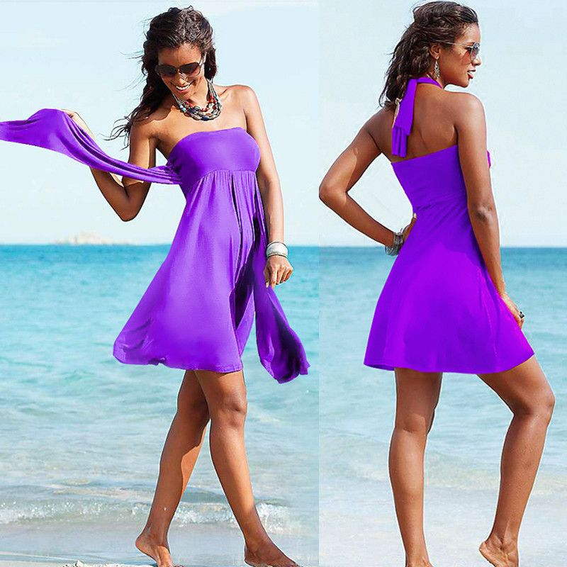 Variety Strappy Chest Wrapped Skirt Women Beach Dress 2016 Swimming Beachwear Swim Cover Ups Multi Wears Ribbon Female HQVB007