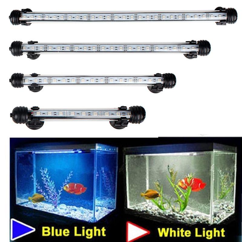 Étanche lumières LED d'aquarium poisson réservoir lumière Bar bleu/blanc 18/28/38/48CM Submersible sous-marine Clip lampe aquatique décor EU