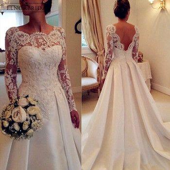 Blanc Ivoire Manches Longues Dentelle Robes De Mariée 2018 Casamento Sheer une Ligne Custom Made Robes De Mariée Dos Ouvert Robe De Mariee