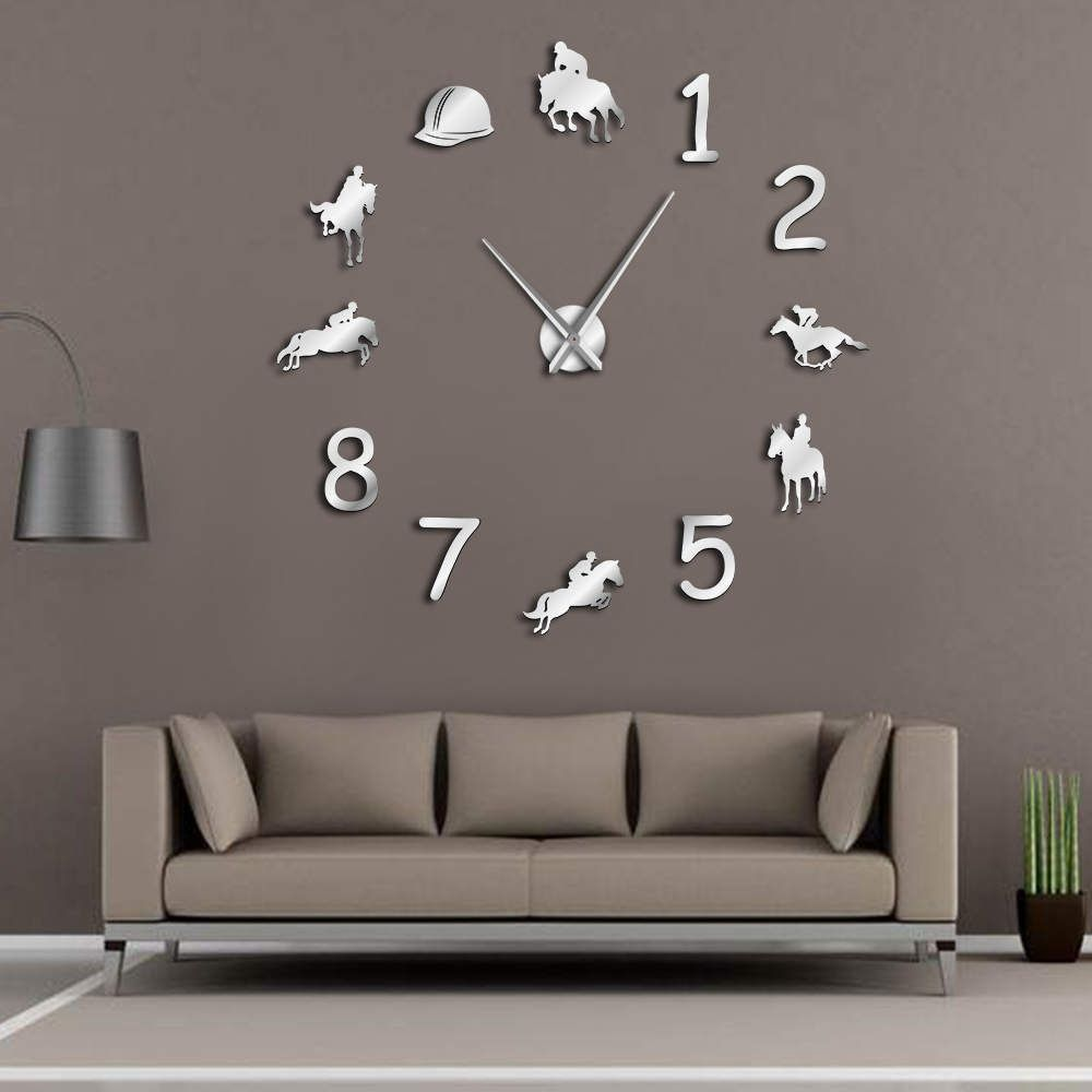 Equestrians Large Wall Clock Farmhouse Home Decor Cowboys Modern Design Giant Wall Clock Rodeo Horse Riding DIY Wall Watch