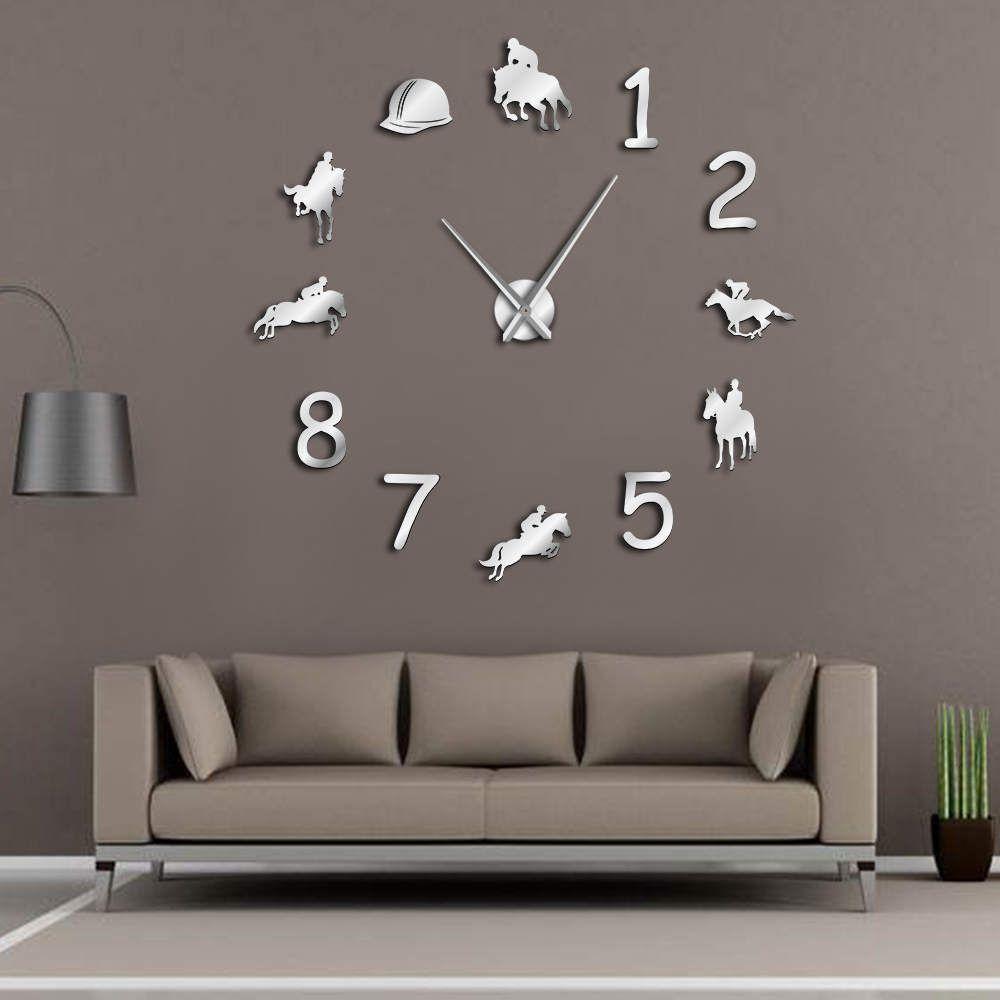 Equestrians grande horloge murale ferme décor à la maison Cowboys Design moderne horloge murale géante rodéo équitation bricolage montre murale