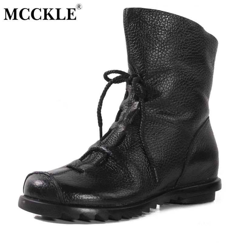 MCCKLE 2017 Women Fashion Vintage Genuine Leather Shoes Female Spring Autumn Platform Ankle Boots Woman Lace Up Casual Boots