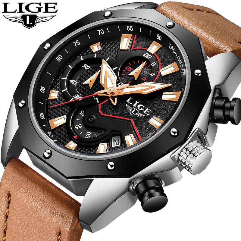 2018LIGE Men Watches Fashion Chronograph Business Leather Quartz Watch Men Military Waterproof Sport Watch Male Relojes Hombre