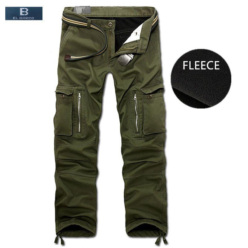 [EL BARCO] Winter Cotton Fleece Casual Pants Cargo Men Warm Soft Military Green Black Khaki Zipper Male Long Trousers Plus Size