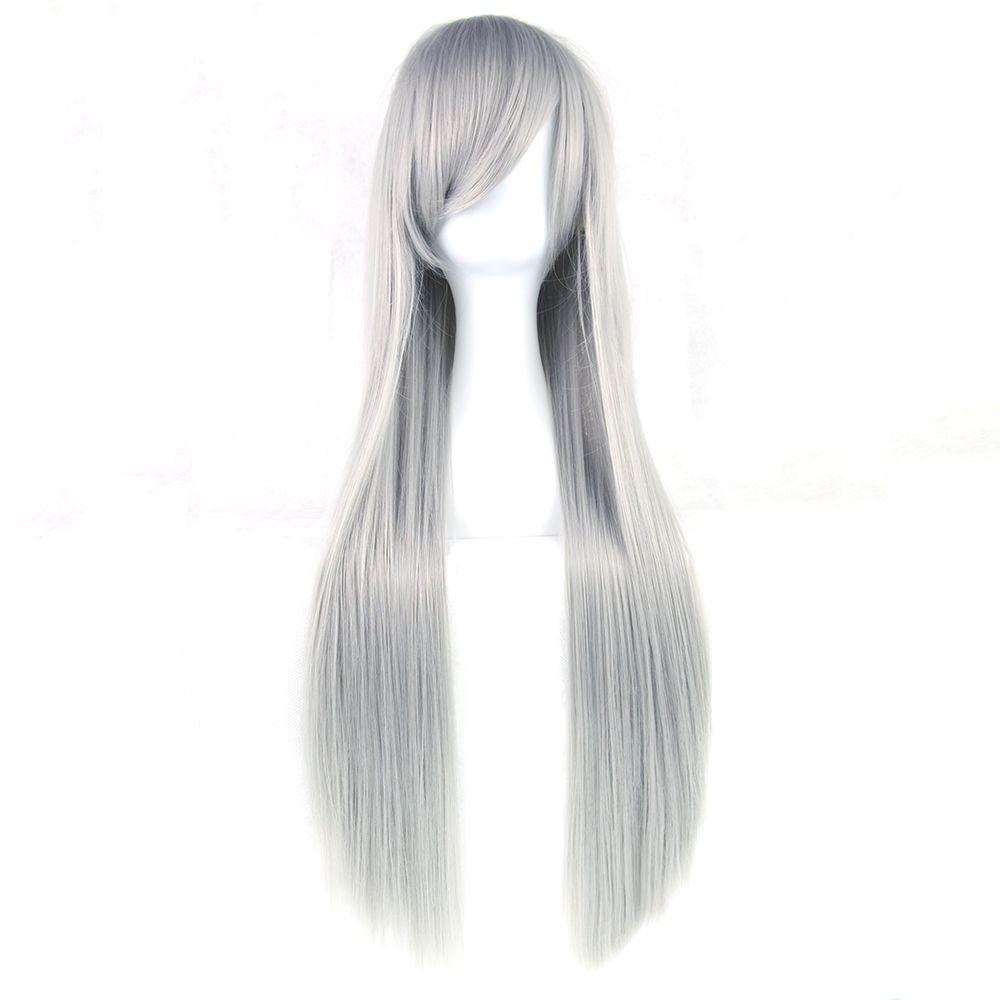 Soowee 24 Colors 80cm Long Women Wig Heat Resistant Pink Gray Straight Cosplay Wigs