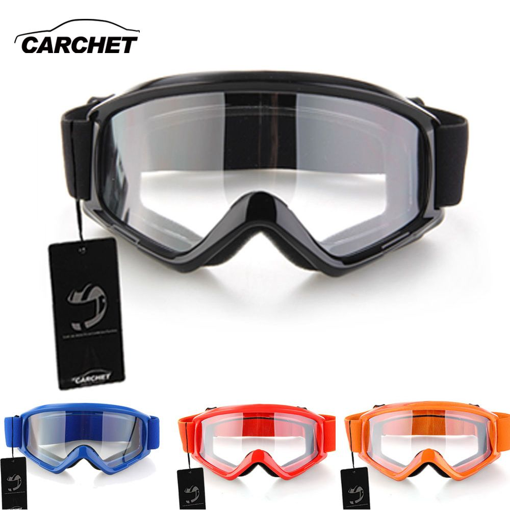 CARCHET <font><b>Motocross</b></font> Glasses Goggles Motorcycle Enduro Off-Road Hemlet Windproof Glasses Goggles Clear Lenses Black Blue Orange
