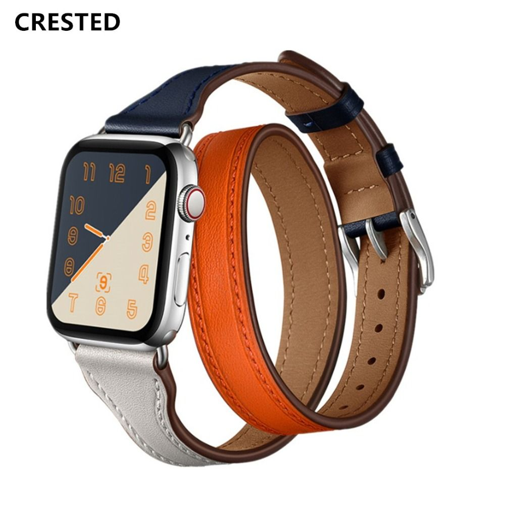 CRESTED Genuine Leather Strap For Apple Watch 4 Band 42mm 44mm Iwatch band 38mm 40mm Double Tour Wrist Bracelet belt series 2 1