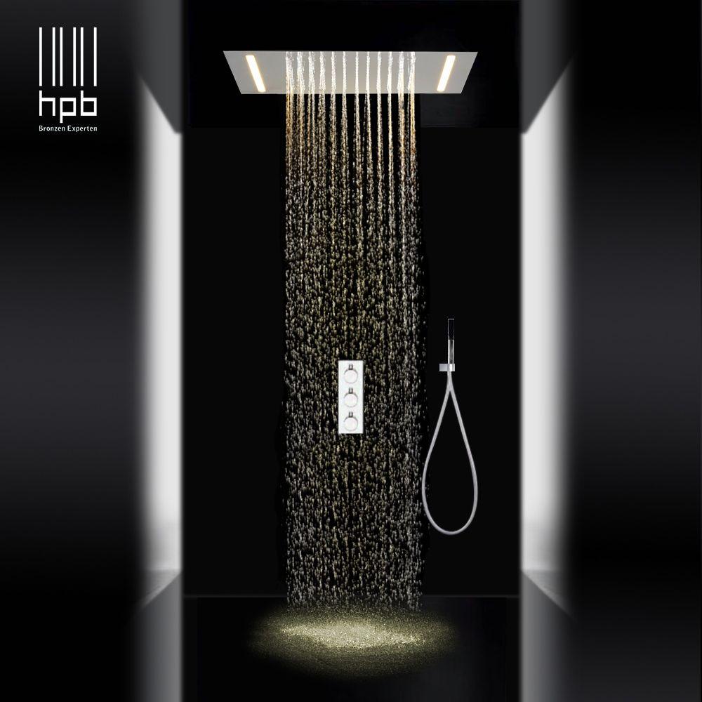 HPB luxus 3 funktionen sus304 led regen dusche sets mixer decke montiert dusche köpfe heißer und kalten wasser 008P-50X36E-F