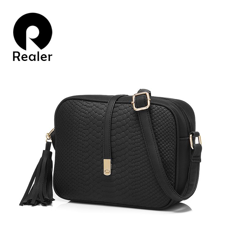 REALER brand small shoulder bag for women messenger bags ladies retro PU leather handbag purse with tassels female <font><b>crossbody</b></font> bag