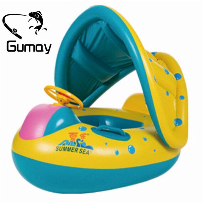 Gumay High Quality Safety Baby Infant Swimming Float <font><b>Inflatable</b></font> Adjustable Sunshade Seat Boat Ring Swim Pool