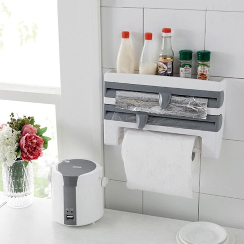 4 Layer Paper Holder Hanger Tissue Wrap Roll Towel Rack Toilet Sink Door <font><b>Hanging</b></font> Organizer Storage Hook Kitchen Holder Rack