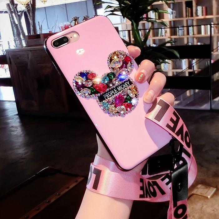 3D Bling mick Für iphone X schöne Luxus Strass Diamant fall für iphone 8 7 6 6 s plus Mädchen liebhaber geschenk handgemachte fall + strap